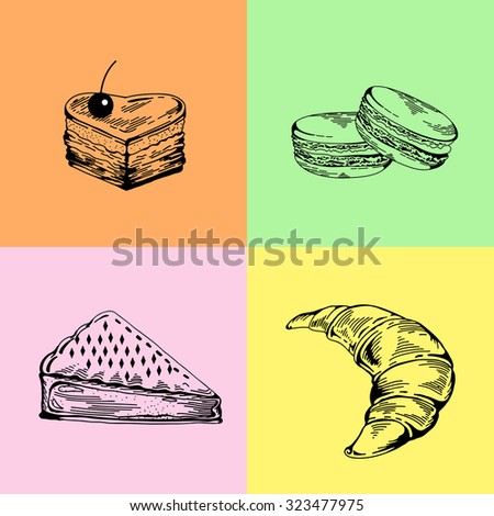 Vector set of bakery sweets. Hand drawing pastry, bakery products. Elements for cake websites. Cake, croissant, pie, macaroon, pastries. Vintage concept for bakery or cafe - stock vector