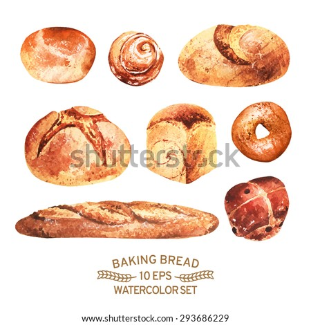 Vector set of baking in watercolor style. Buns, baguettes, bread, pastries, and other baked goods. Vintage watercolor concept for a bakery or cafe.