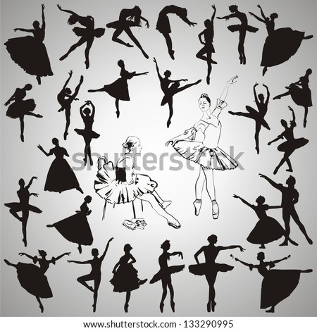 Vector set of ballet dancers silhouettes - stock vector