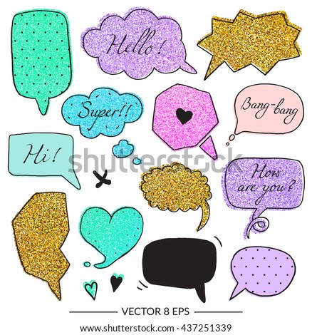 Vector set of balloons for inscriptions, pop arts, comics, cartoons. Vector set with glitter effect for your design. - stock vector