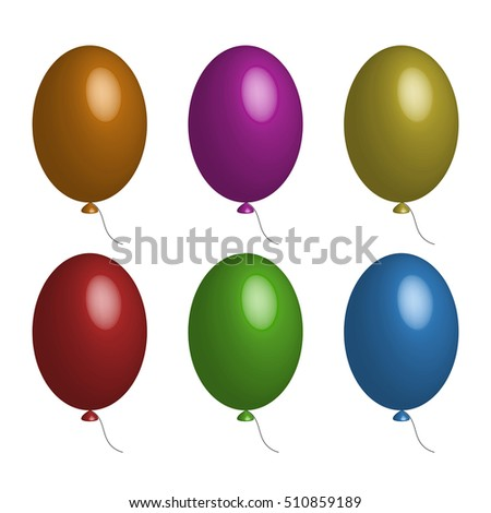 Vector set of balloons. Red, orange, yellow, green, blue purple Three-dimensional image.