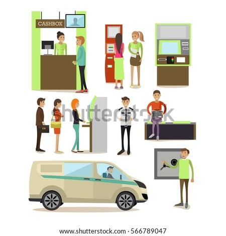 Vector Set Banking Concept Design Elements Stock Vector 566789047 ...