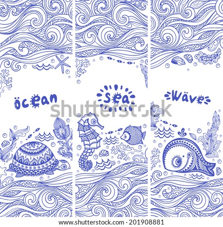 Vector set of banners with fish and shells   for your business - stock vector
