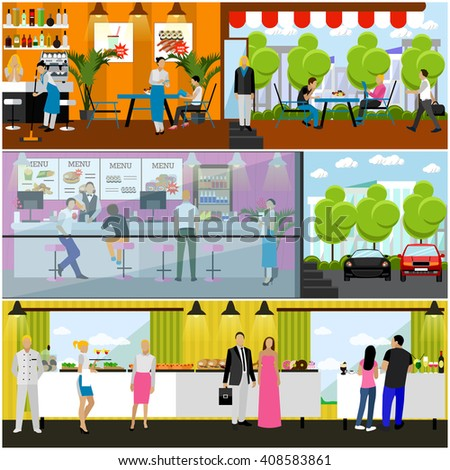 Vector set of banners with restaurant interiors. Smorgasbord party. Fast food restaurant and street cafe in flat design