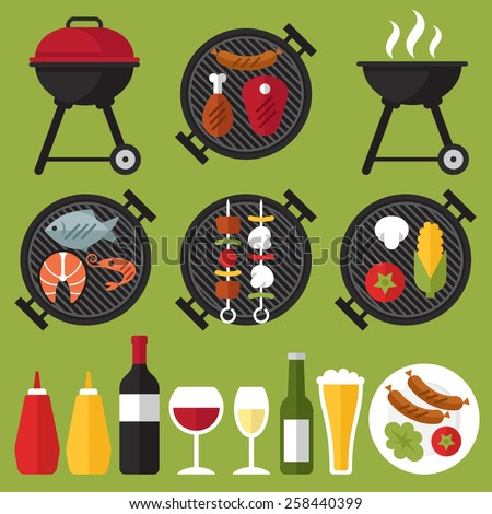 Vector set of barbecue and grilled food: steak, sausage, chicken, seafood and vegetables. - stock vector