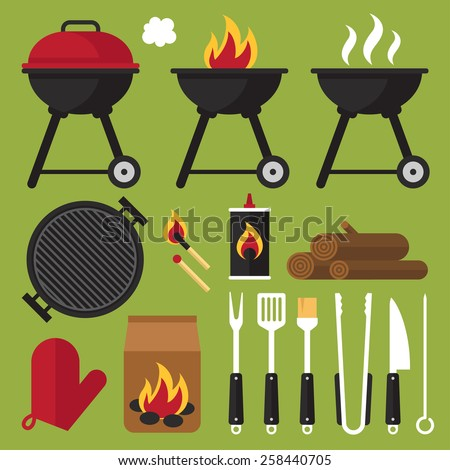Vector set of barbecue tools. - stock vector