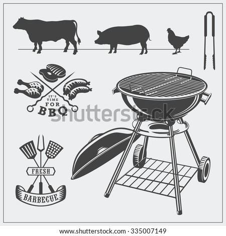 Vector set of barbecue tools, steaks, labels, logos. Silhouettes of cow, pig and chicken. - stock vector