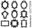 Vector Set of Baroque Frame Silhouettes - stock vector