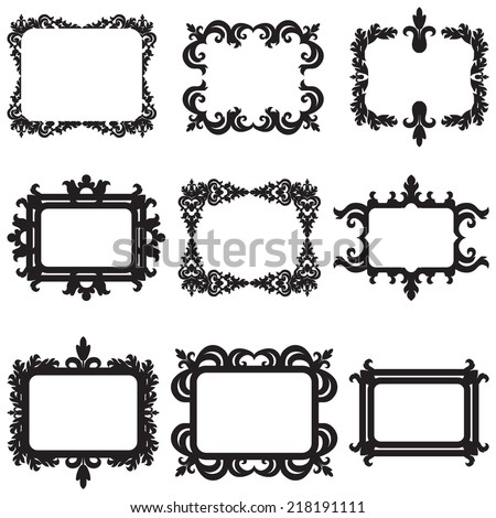 Vector set of baroque frame silhouettes isolated on white background - stock vector