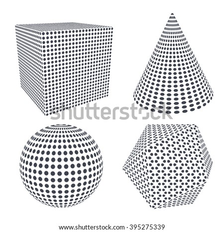 Vector set of basic geometric shapes formed by dots.
