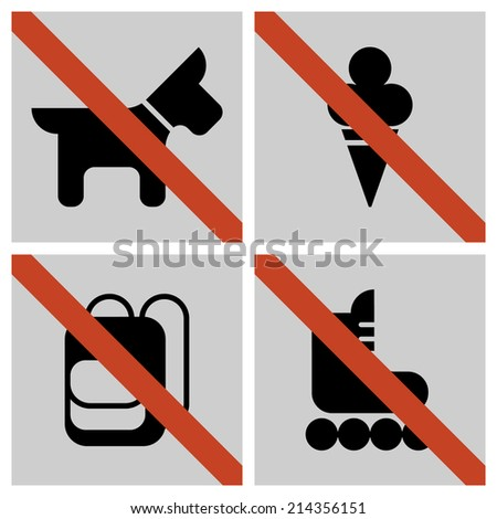 Vector set of basic grey colored square restriction signs for your store or shop   Not allowed icons: no dogs, no ice cream, no backpacks, no skates - stock vector