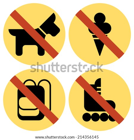 Vector set of basic yellow colored round restriction signs for your store or shop   Not allowed icons: no dogs, no ice cream, no backpacks, no skates - stock vector