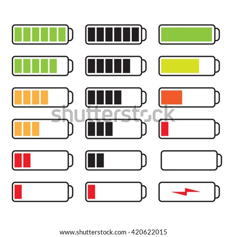 Vector set of batteries with different charge levels - stock vector