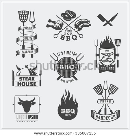 Vector set of BBQ labels and logos. - stock vector
