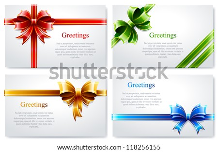 Vector set of beautiful business cards with gift bows and ribbons. - stock vector