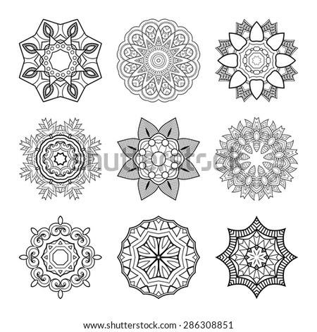 Vector Set of Beautiful Deco Mandala. Round Ornament Pattern - stock vector