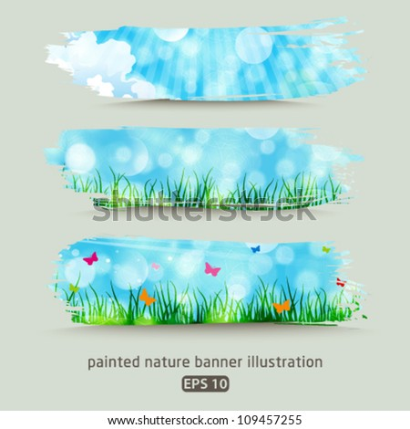 Vector set of beautiful painted nature banner illustrations. Jpeg version also available in gallery. - stock vector