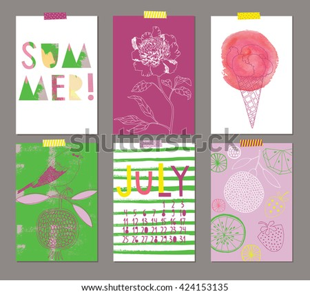 Vector set of Beautiful Summer Posters - stock vector