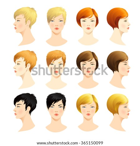 Vector set of beautiful woman face. Various color of bob haircuts and short haircut. Various turns heads. Face in front. Face in profile. Blond hair, red hair, brown hair, black hair. - stock vector