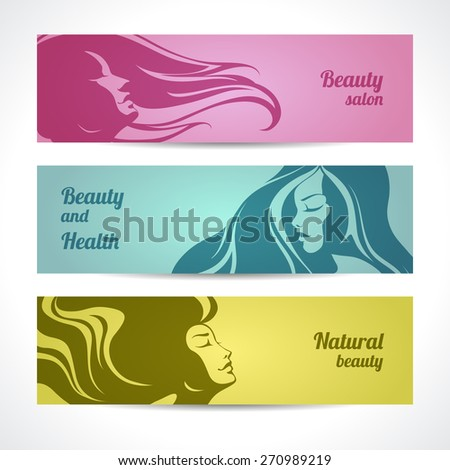 Vector set of beauty salon, cosmetics, spa banners labels cards design. Beautiful woman silhouette with long hair - stock vector