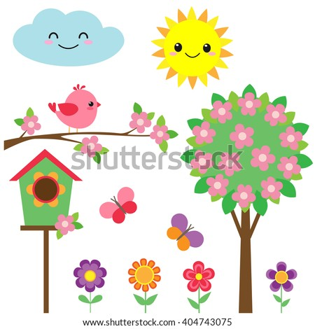 Vector set of birds, flowers, butterflies and blooming tree - stock vector
