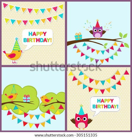 Vector set of birthday party cards with cute birds and bunting.  - stock vector