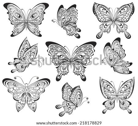 Vector set of black and white calligraphic butterflies isolated on white background. Tattoo design - stock vector