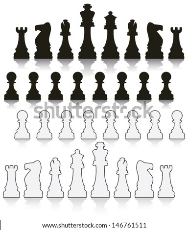 vector set of black and white chess symbols - stock vector