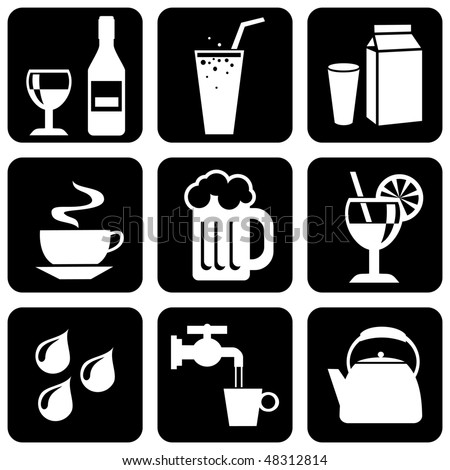 vector set of black and white icons on beverages and liquids - stock vector