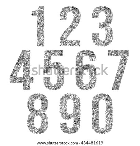 Vector set of black and white numbers seven made of flowers. - stock vector