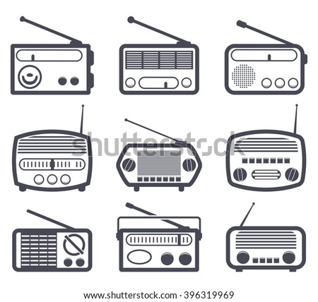 vector set of black and white radio icons - stock vector