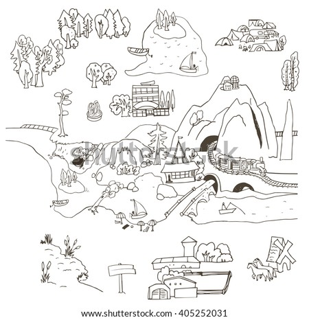 Vector set of black and white sketches. It can be used as an independent graphic design elements and how. Country life, recreation, tourism, farming, countryside.