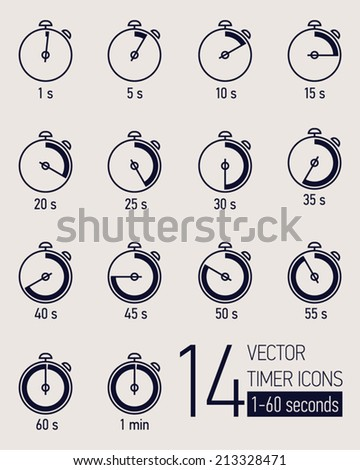 Vector set of black and white stopwatch timer icons | Different time interval in seconds icons | Fourteen stopwatch clock faces with seconds ticking   - stock vector