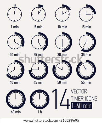 Vector set of black and white timer icons | Different time interval icons | Fourteen clock faces with minutes ticking   - stock vector