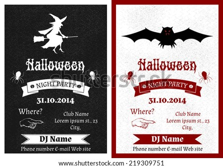 Vector set of black and white vintage Halloween party invitation  - stock vector