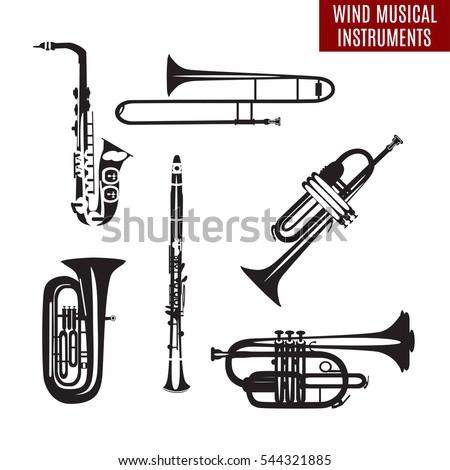 Vector set of black and white wind musical instruments in flat design. Saxophone, clarinet, trumpet, trombone, tuba isolated on white background. Woodwind and brass musical instruments.