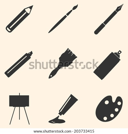 Vector Set of Black Art,  Painting and Drawing Icons - stock vector