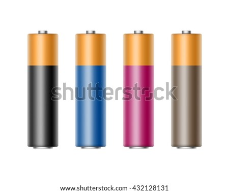 Vector Set of Black Blue Cyan Magenta Pink Glossy Alkaline AA Batteries Of Diffrent Color for branding Close up Isolated on White background - stock vector