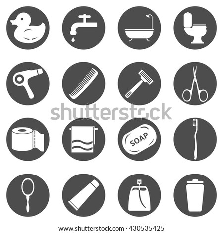 Vector Set of Black Circle Bathroom Icons