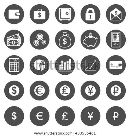 Vector Set of Black Circle Finance Icons