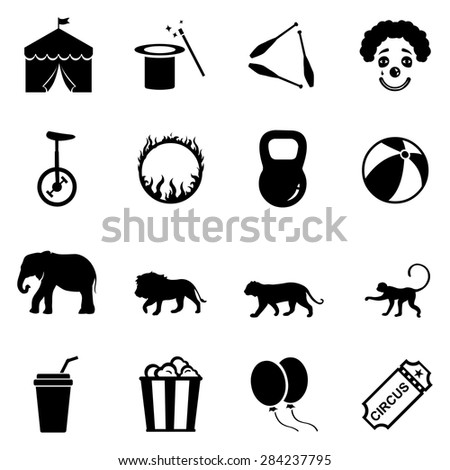 Vector Set of  Black Circus Icons - stock vector