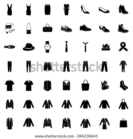 Vector Set of 49 Black Clothes Icons. Mens and Womens Fashion. Casual, Sport, Bussines and Evening Wear. Footwear. Clothes. Accessories. Overcoat. - stock vector