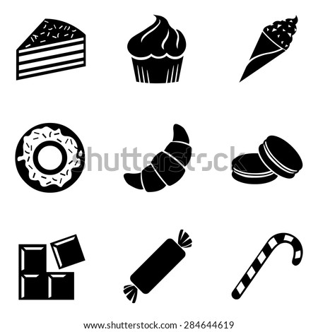 Vector Set of Black Dessert Icons. Sweet-Stuff. Confection. Cake, Brownie, Ice Cream, Doughnut, Croissant, Macaroni, Chocolate, Candy, Candy Cane. - stock vector