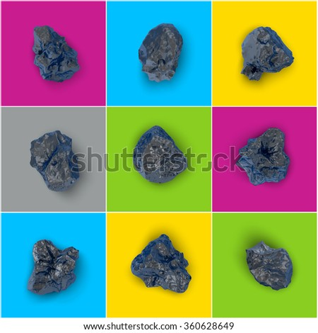 vector set of black glossy stones isolated - stock vector