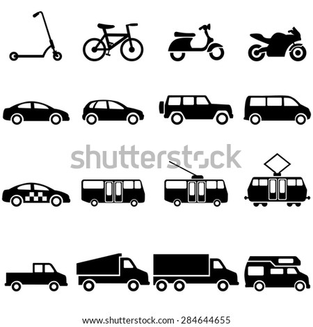 Vector Set of Black Ground Transportation Icons - stock vector