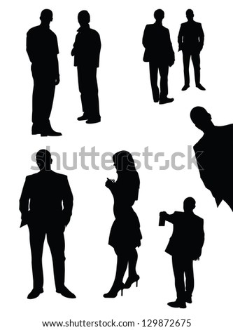 Vector set of black isolated manager silhouettes - stock vector