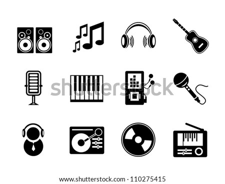 Vector set of black music icons isolated on white - stock vector