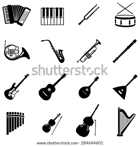 Vector Set of 16 Black Musical Instruments Icons - stock vector
