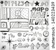 Vector set of black navigation hand drawn doodles - stock vector