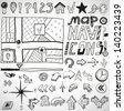 Vector set of black navigation hand drawn doodles - stock vector